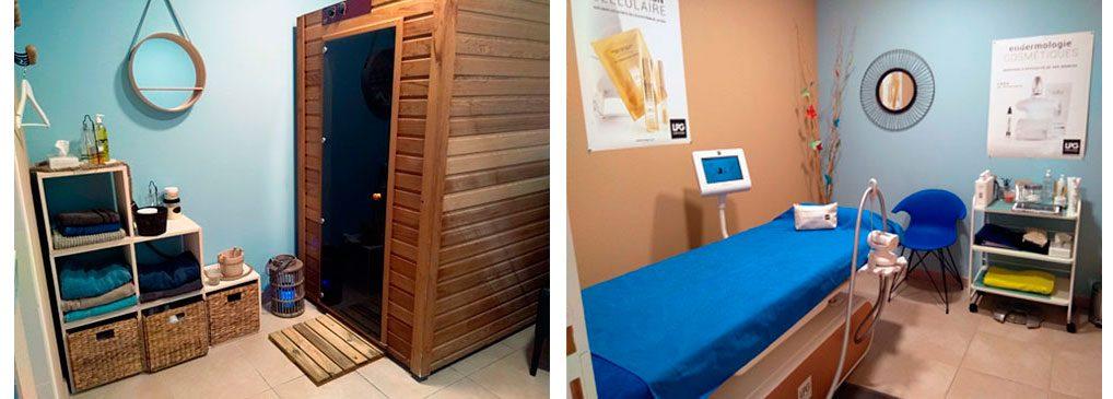 Cabine du sauna, salle de soins LPG